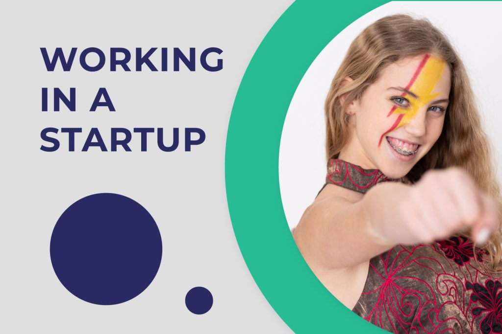 A girl is happy about founding a job at a startup